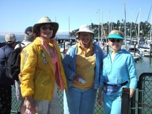 Holly, Jacquie, and Sue at the Sausalito, CA, ferry